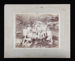 Sydney Rowing Club Eights crew in a bush setting, 1890s