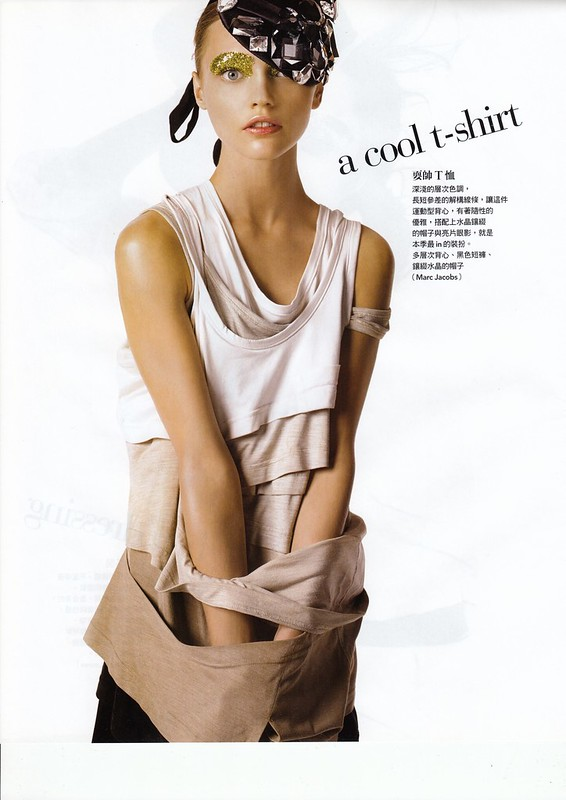 "a cool t-shirt : ""Smart Moves"", Vogue Taiwan, No125, Feb, 2007. Photographed by Steven Meisel, Fashion editor Grace Coddington, Hair Julien d'Ys, Makeup Pat McGrath for Max Factor"
