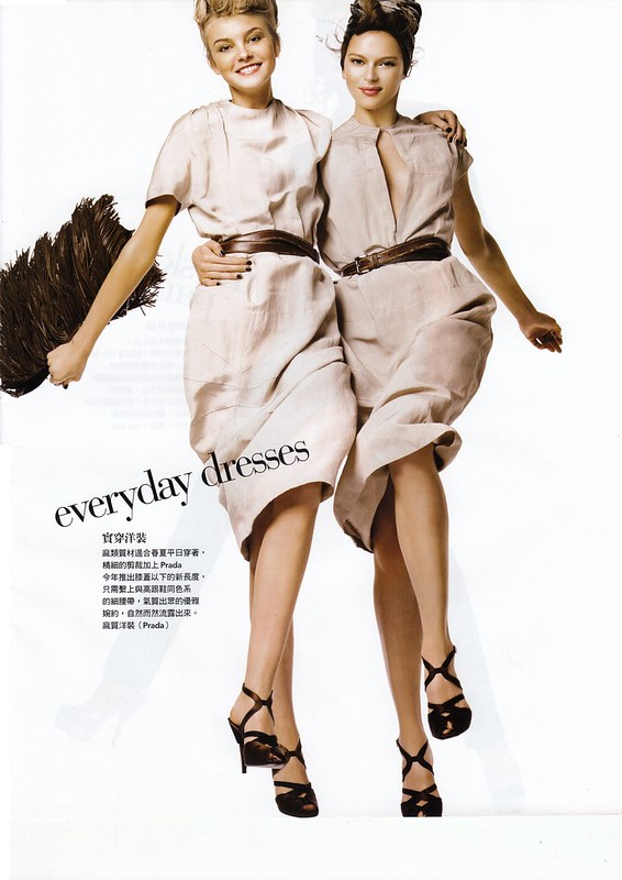"everyday dresses : ""Smart Moves"", Vogue Taiwan, No125, Feb, 2007. Photographed by Steven Meisel, Fashion editor Grace Coddington, Hair Julien d'Ys, Makeup Pat McGrath for Max Factor"
