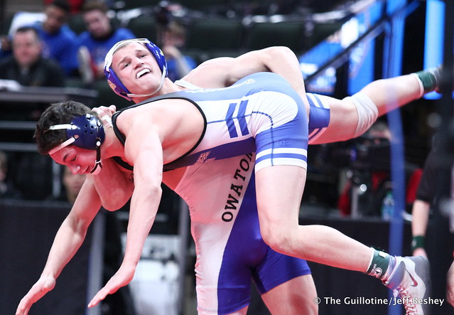 Semifinal - Peyton Robb (Owatonna) 48-0 won by fall over Martin Puttbrese (Cambridge-Isanti) 44-7 (Fall 0:27). 180303AJF0438