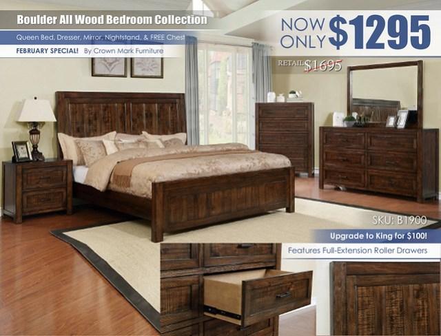 Boulder All Wood Bedroom Crown Mark_B1900