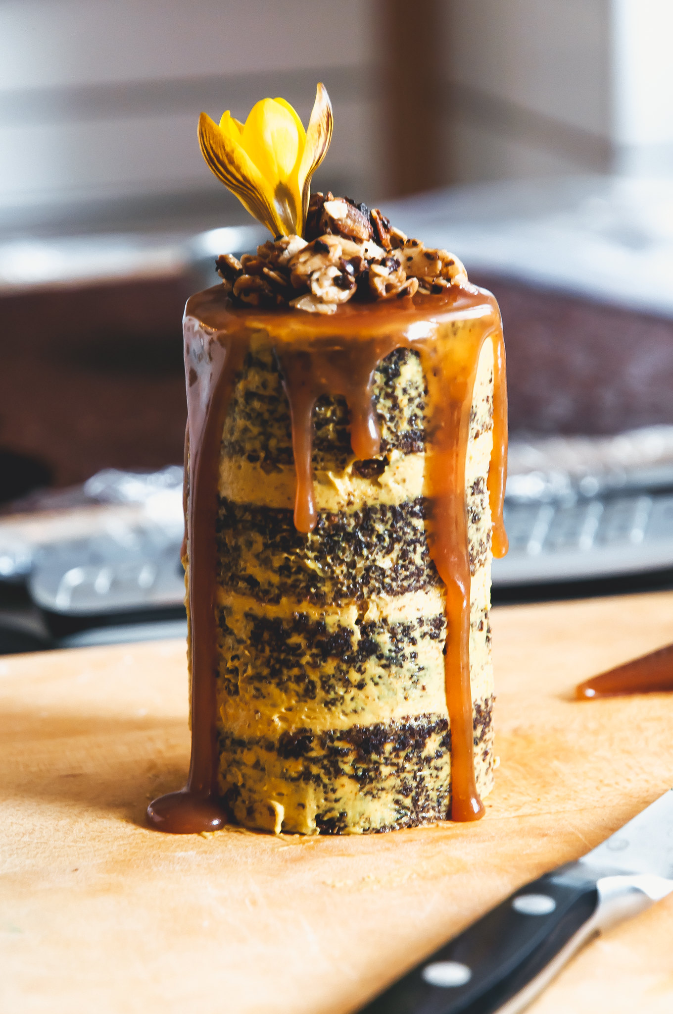 Chocolate Carrot Cake with Turmeric Butterscotch Buttercream, Salted Caramel and Oat Crumble