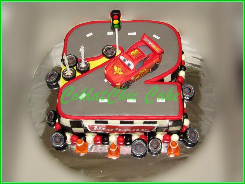 cake angka 2 lightning mcqueen cars  moreno  coklatchic