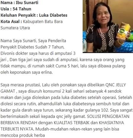 testimoni Obat Diabetes Dan Luka Diabetes QnC Jelly Gamat