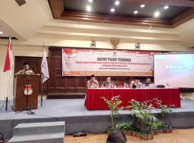 Ketua KPU Tulungagung Suprihno, M.Pd., saat memberikan sambutan di rapat pleno terbuka rekapitulasi penyempurnaan dan penetapan jumlah DPTHP-2 Pemilu 2019 di aula Hotel Narita Tulungagung (8/12)