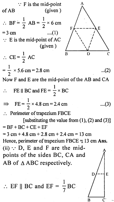 ML Aggarwal Class 9 Solutions for ICSE Maths Chapter 11 Mid Point Theorem    1a