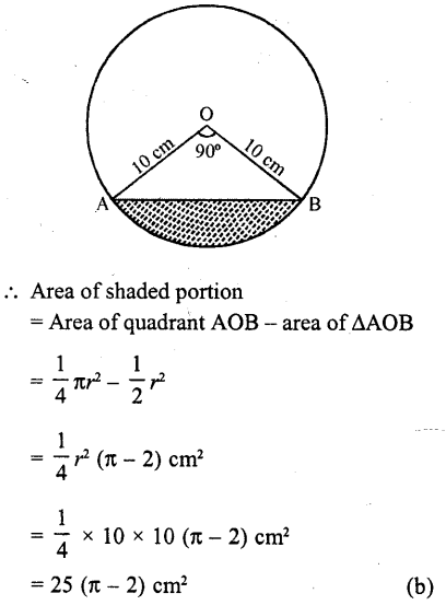 RD Sharma Class 10 Solutions Chapter 13 Areas Related to Circles MCQS -30a