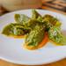 Jiaozi de la Chacra (Chifa) - Cilantro dumpling, seasonal vegetables, ají rocoto $9
