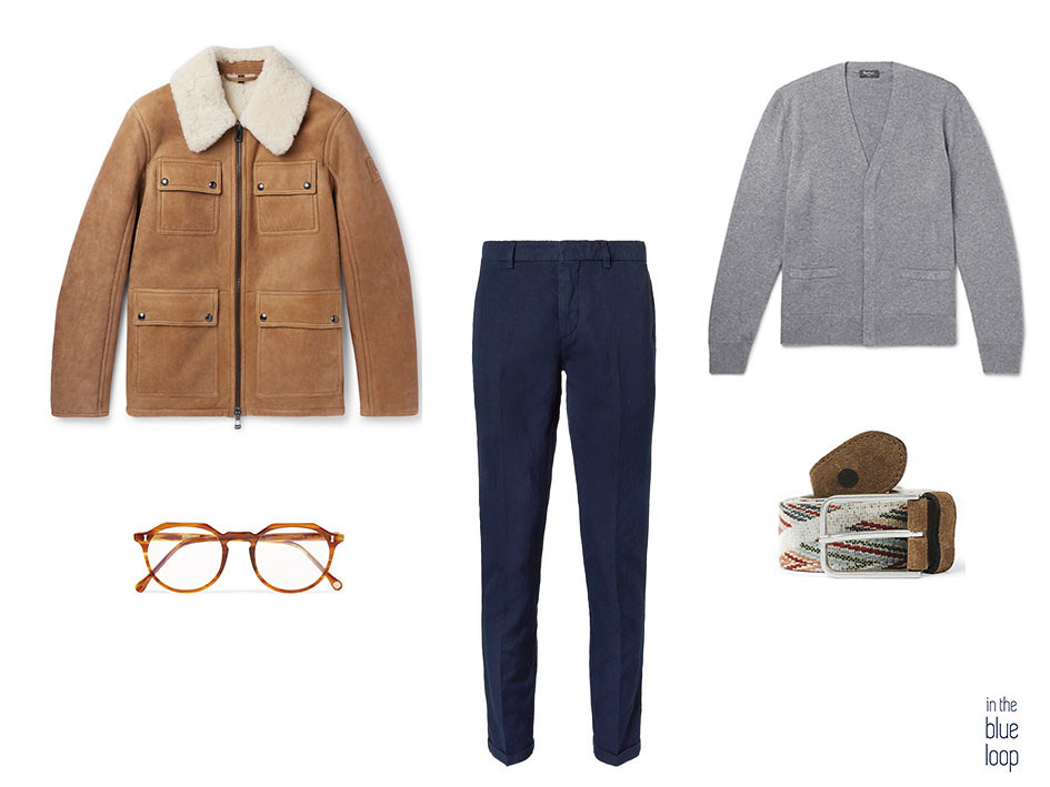 Look smart-casual con chaqueta de borrego o piel de oveja, chinos azules, cardigan gris y cinturón Arure de blue hole