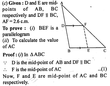 ML Aggarwal Class 9 Solutions for ICSE Maths Chapter 11 Mid Point Theorem    1c