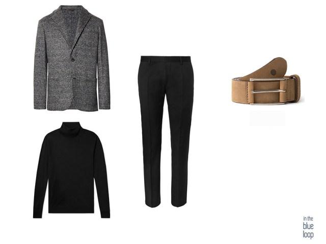 Look smart casual con pantalón de vestir, jersey cuello vuelto, blazer y cinturón anaga de blue hole