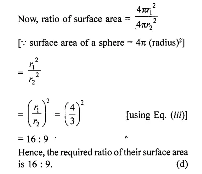 RD Sharma Class 10 Solutions Chapter 14 Surface Areas and Volumes MCQS 45A