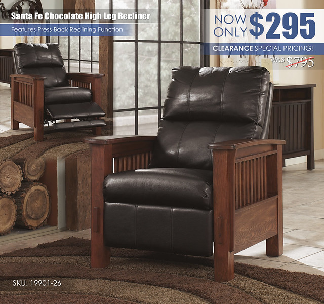 Santa Fe Chocolate High Leg Recliner_Special_19901-26-SD