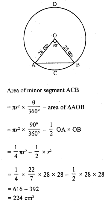 RD Sharma Class 10 Solutions Chapter 13 Areas Related to Circles MCQS -42