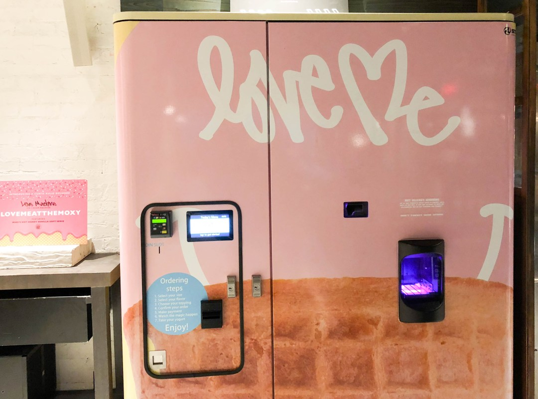 Ice cream vending machine at the Moxy NYC Times Square