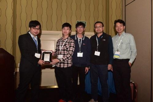 「2018國際積體電路電腦輔助設計軟體製作競賽」獲獎師生合影-陳勇志老師(右二)