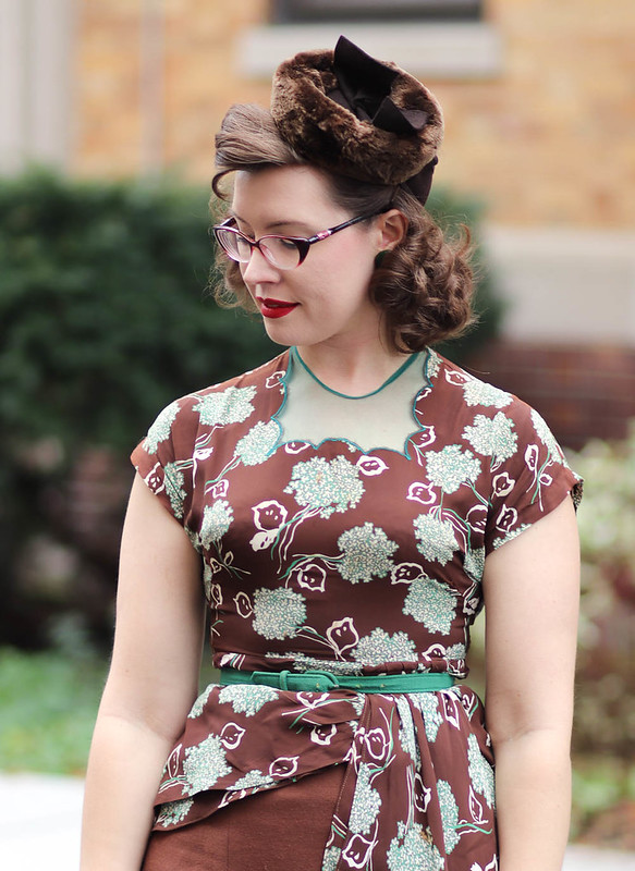 1940s brown and green dress rescue project