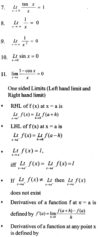 Plus One Maths Notes Chapter 13 Limits and Derivatives 1