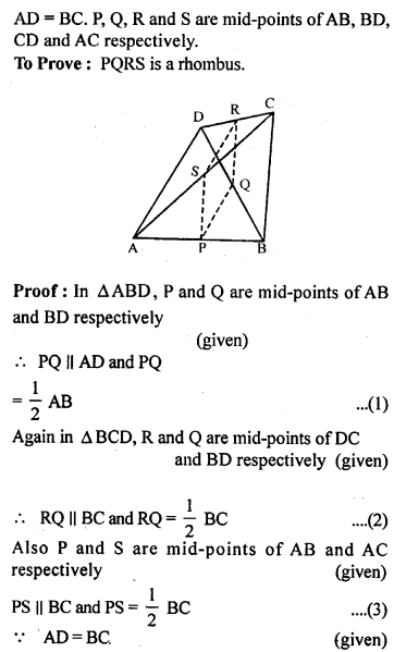 ML Aggarwal Class 9 Solutions for ICSE Maths Chapter 11 Mid Point Theorem    11b
