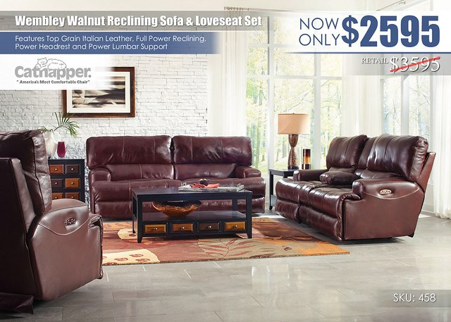 Wembley Walnut Reclining Living Room Set_458