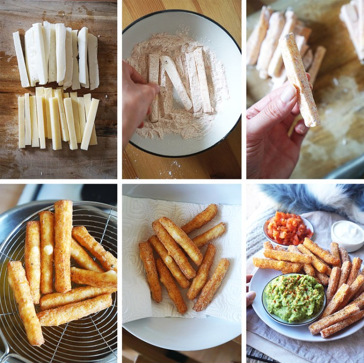 How to make paneer and halloumi fries with a gluten free crispy coating.