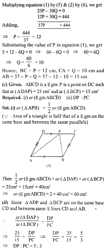 ML Aggarwal Class 9 Solutions for ICSE Maths Chapter 14 Theorems on Area    15d