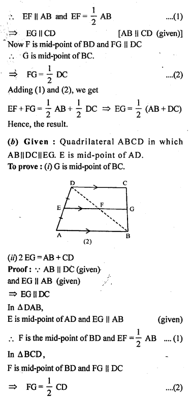 ML Aggarwal Class 9 Solutions for ICSE Maths Chapter 11 Mid Point Theorem    10b