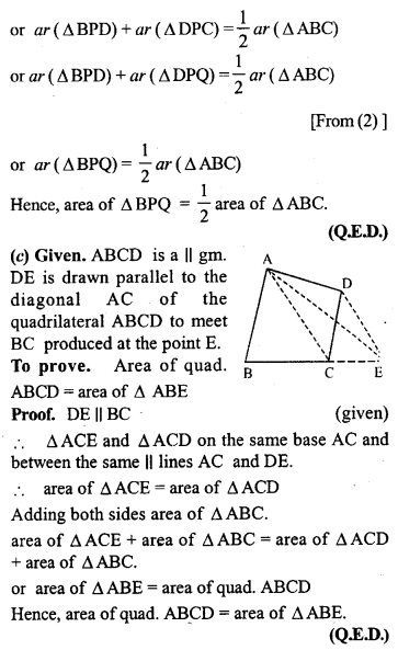 ML Aggarwal Class 9 Solutions for ICSE Maths Chapter 14 Theorems on Area     pq2c