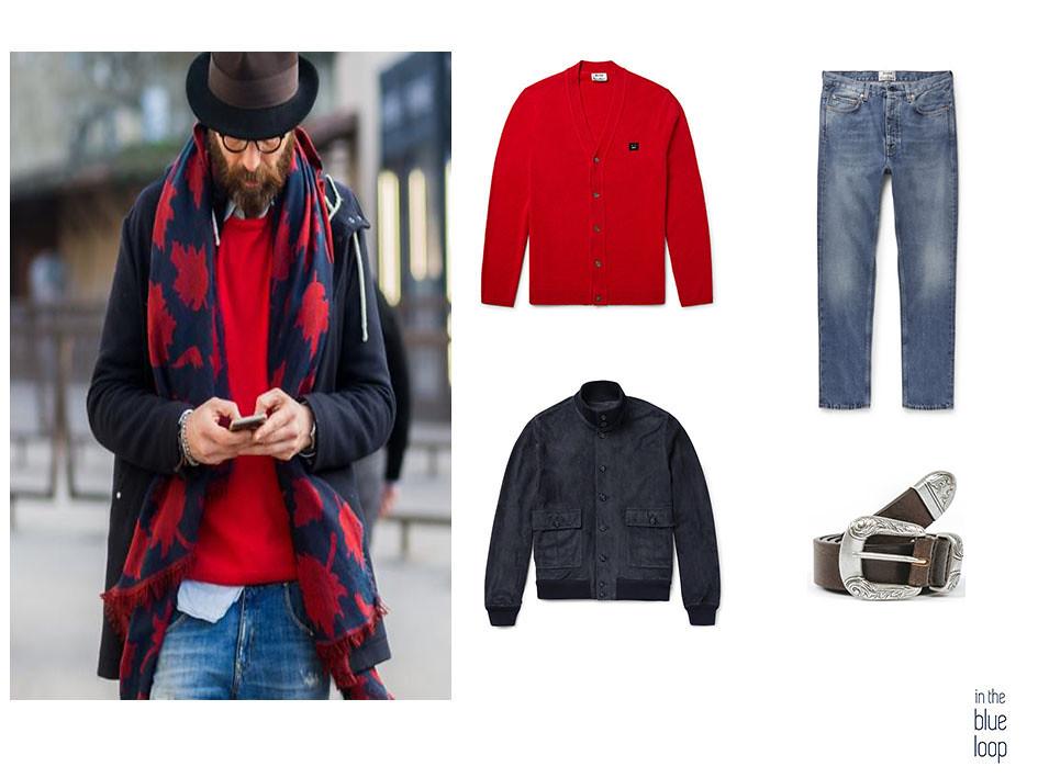 Look masculino casual con vaqueros, bomber, cardigan y cinturón Uga de Blue Hole