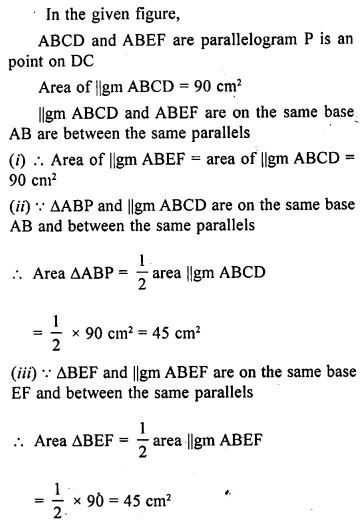 ML Aggarwal Class 9 Solutions for ICSE Maths Chapter 14 Theorems on Area    ct pqa