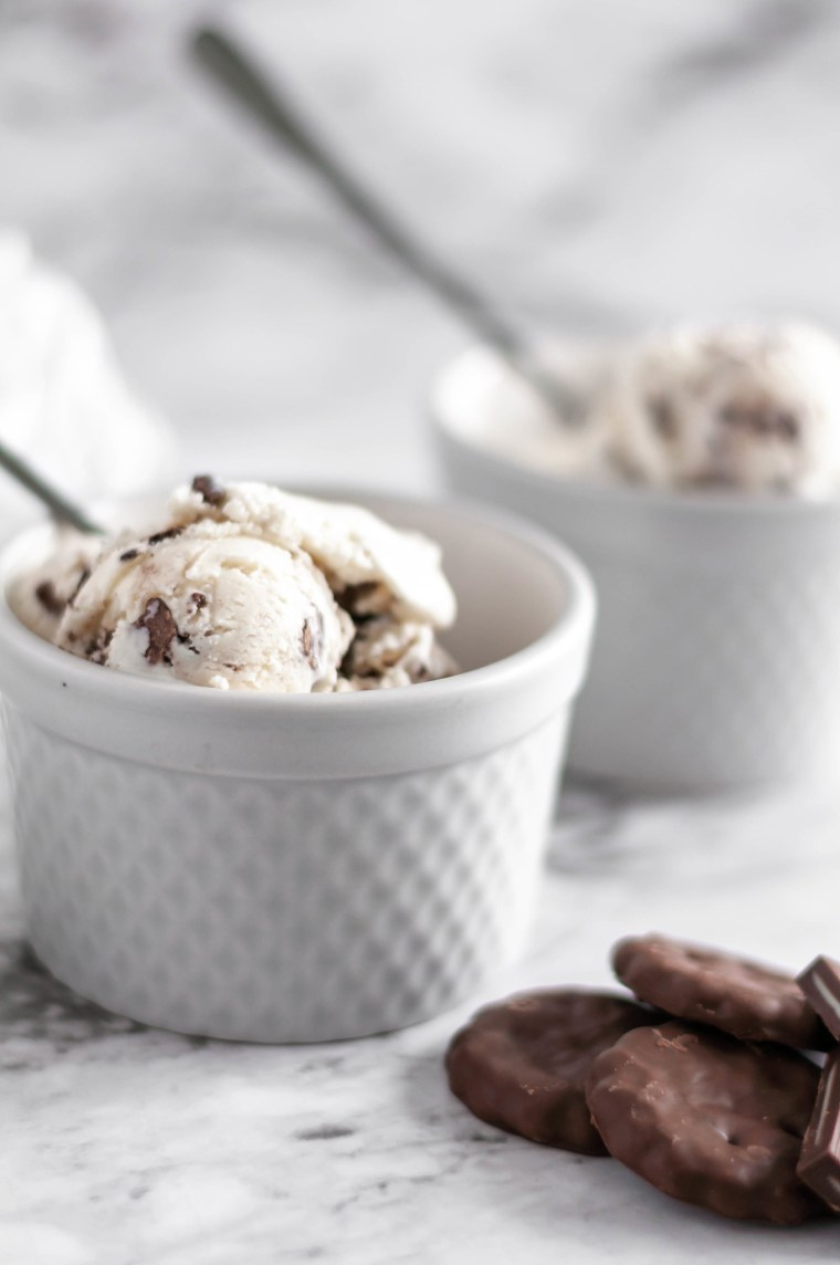 For an epic holiday dessert, break out the ice cream maker and whip up this Triple Mint Ice Cream. Creamy vanilla ice cream with three mint mix ins, grasshopper cookies, Andes mint candies and York Peppermint Patties.