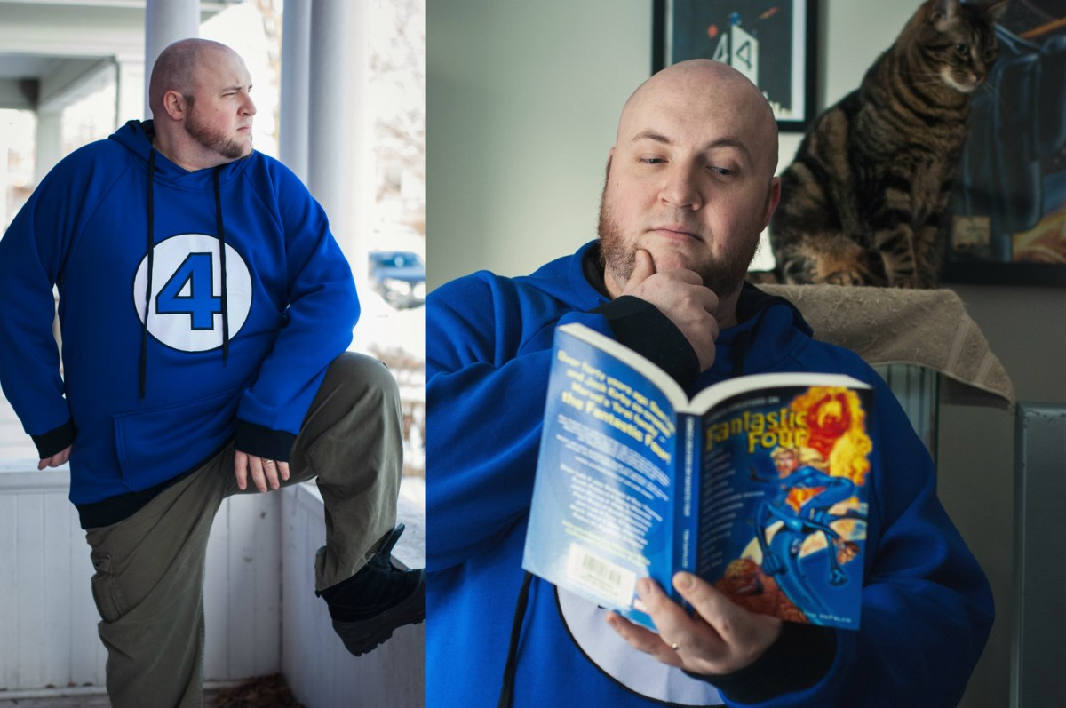 Two images of Jamie in his Fantastic Four logo hoodie: one outdoors, standing on the porch, and one indoors, reading a comic with a cat looking on in the background