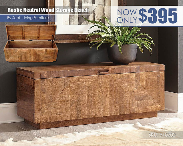 Rustic Neutral Wood Storage Bench_Scott Living_910202