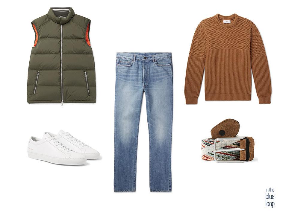 Look casual con cinturón Arure de blue hole, jeans o vaqueros, chaleco acolchado o gilet y sneakers blancas