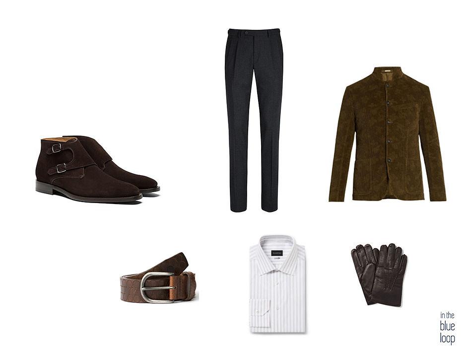 Blazer, cinturón nublo de blue hole, botas monk, camisa de rayas, guantes y pantalones de vestir para un look smart-casual