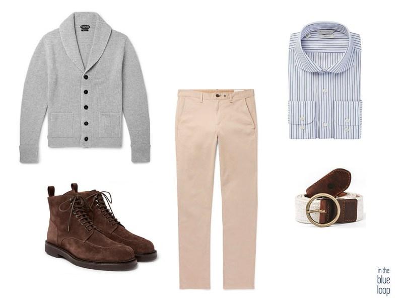 Look décontracté pour hommes avec un pantalon chino, une ceinture fataga à trou bleu, une chemise à rayures, des bottes et un gilet