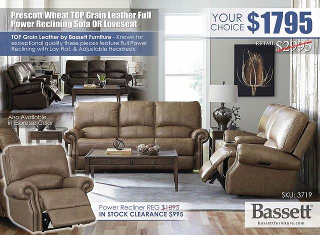 Prescott Wheat Top Grain Leather Power Reclining Sofa OR Loveseat Special_Bassett_3179