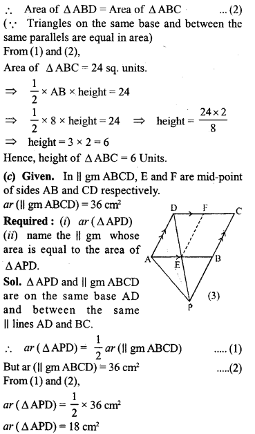 ML Aggarwal Class 9 Solutions for ICSE Maths Chapter 14 Theorems on Area     10b