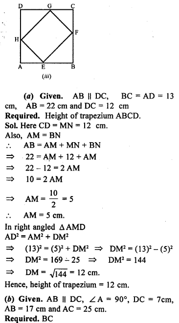 ML Aggarwal Class 9 Solutions for ICSE Maths Chapter 12 Pythagoras Theorem     19a