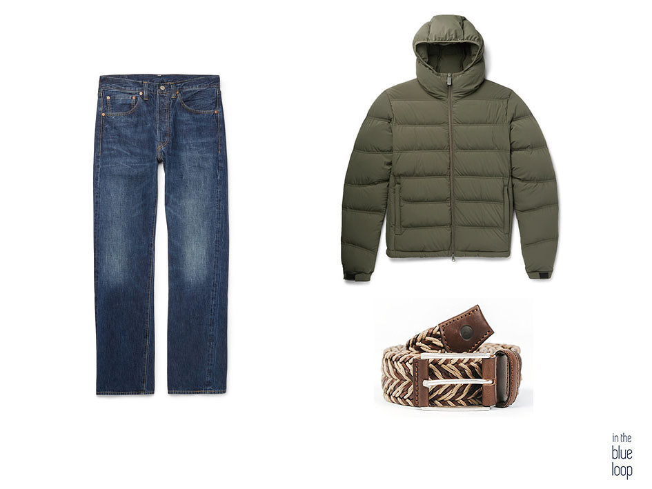 Casual masculino con plumas verde, vaqueros o jeans y cinturón Sabina de blue hole