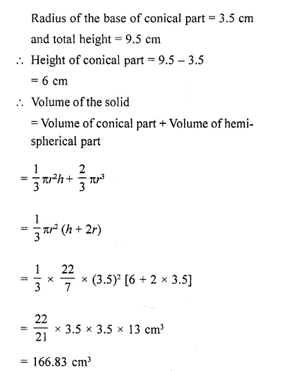 RD Sharma Class 10 Solutions Chapter 14 Surface Areas and Volumes Ex 14.2 27a