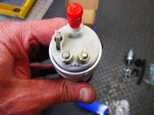 Outlet Side of New Fuel Pump Has Electrical Terminals for Power to the Pump