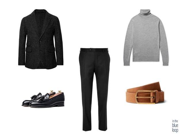 Élégant et décontracté avec un pantalon de costume et un blazer noirs, des chaussures à pompons noires, une ceinture et un col roulés bruns