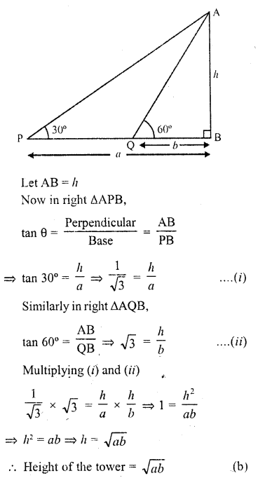 RD Sharma Class 10 Solutions Chapter 12 Heights and Distances MCQS - 4a