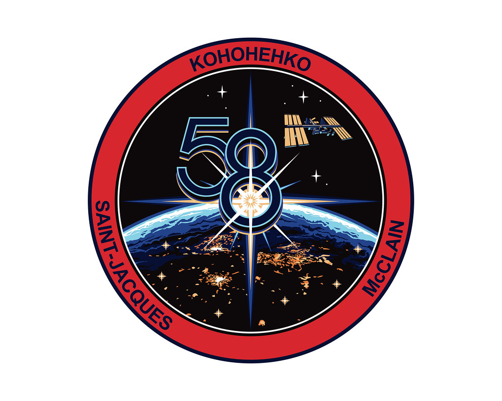 The official insignia for the three-member Expedition 58 crew