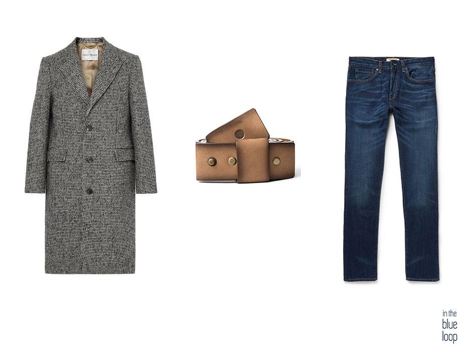 Look casual masculino con abrigo largo, vaqueros o jeans y cinturón Famara de blue hole