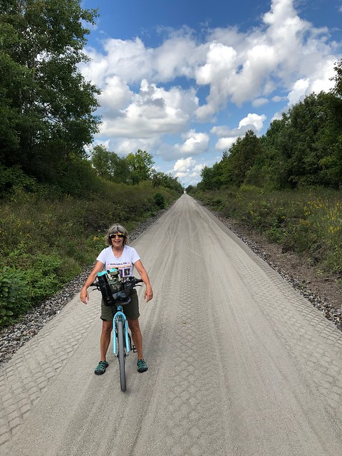 Carleton Place - Linda on bicycle on Almont trail