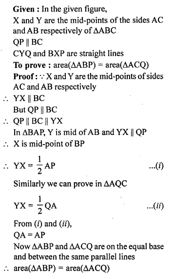 ML Aggarwal Class 9 Solutions for ICSE Maths Chapter 14 Theorems on Area    ct 8a