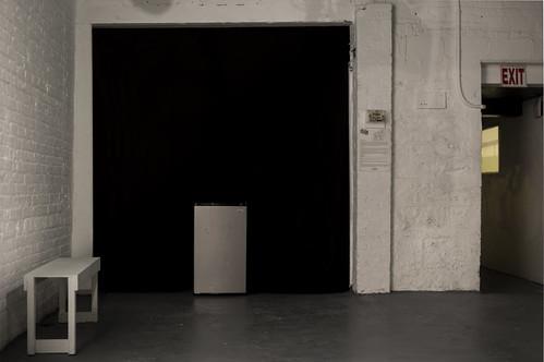 fridge, drinks, black curtain