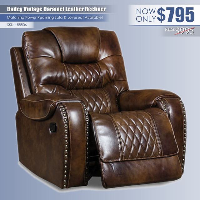 Bailey Vintage Caramel Leather Recliner_L88806
